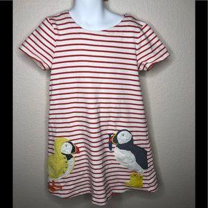 MINI BODEN ducks inRain coat APPLIQUE DRESS 6-7